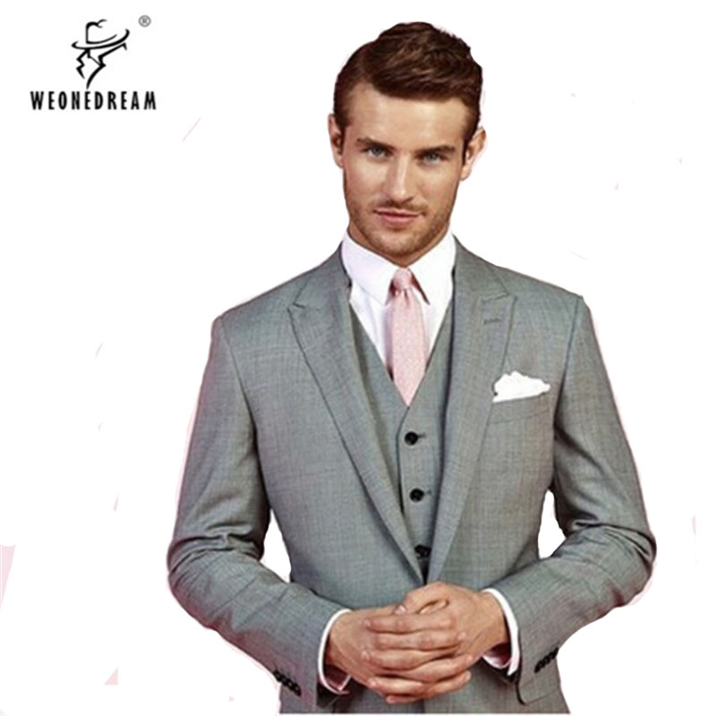 dependable performance 2019 real exceptional range of styles US $252.71 45% OFF|Custom Made Mens Light Grey Suits, Grey Tuxedo, Men Grey  Suit, Elegant Men Suits-in Suits from Men's Clothing on Aliexpress.com | ...