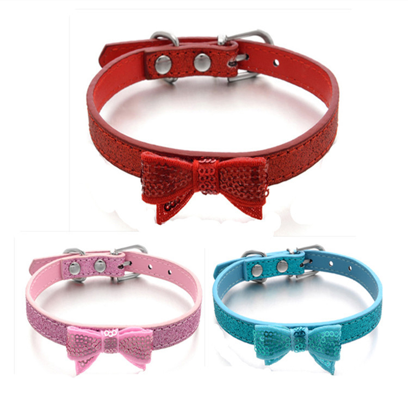 Pink Blue Red Color Embroidery Bow Dog Collar Pet Collars Glitter PU Leather Cat Collar Necklace XS S M Chihuahua Teddy