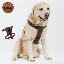 COCA Brand High-quality Cowhide Dog Harness Adjustable Genuine Leather Large Dog Pet Chest Strap front 55-75cm  back 78-88cm
