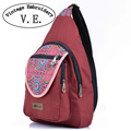 Vintage Embroidery Canvas Chest Shoulder Bag Ethnic Floral Print Crossbody Women Girls Messenger Bags Travel Bag