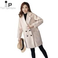 Winter Coat Women Long Jacket 2019 Korean Big size Slim Warm Woolen Coat Women Double Breasted Elegant Female Greatcoat overcoat