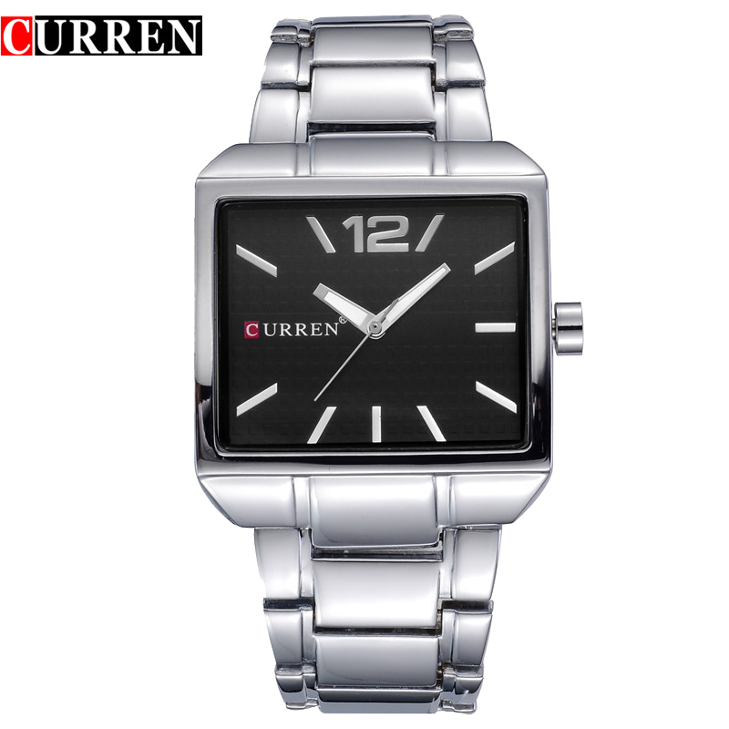New Fashion Men Business Quartz Watches Top Brand Luxury Curren Mens Wrist Watch Full Steel Man Square Watch Male Clocks Relogio new curren men wrist watches top brand luxury man wristwatch full steel silver strap mens quartz watch calendar male hour clocks
