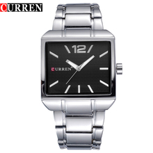 New Fashion Men Business Quartz Watches Top Brand Luxury Curren Mens Wrist Watch Full Steel Man Square Watch Male Clocks Relogio