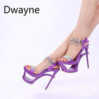 Dwayne New Style Women Crystal Sandals Waterproof Platform Super High Heels 15cm High Nightclub Sexy Rhinestone