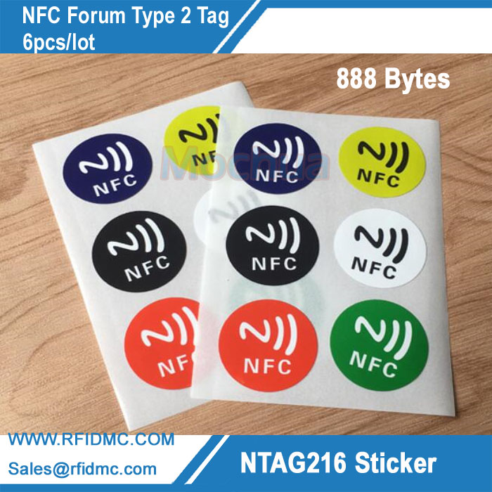 Nfc tags ntag216 chip android writeable programável inteligente tags nfc Lable-6pcs/lot