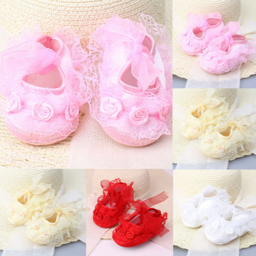 Colorful Newborn Infant Baby Girl Non-Slip Lace Flower Baby Crib Shoes Soft 2019 new 5
