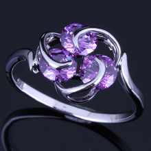 Pleasant Three Stones Round Purple Cubic Zirconia 925 Sterling Silver Ring For Women V0687