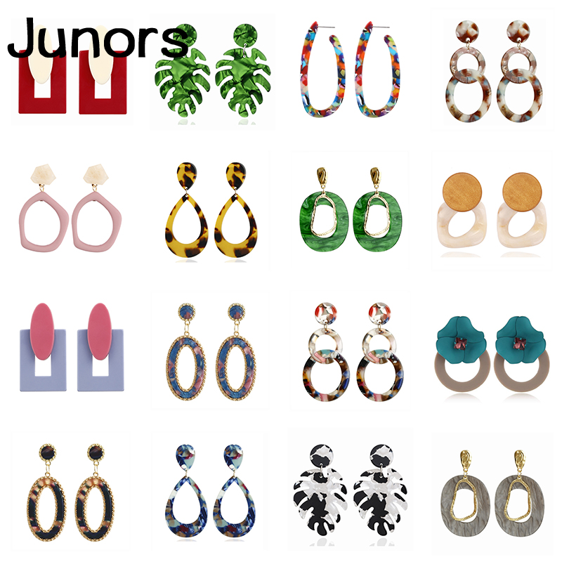 Buy Vintage big acrylic earrings for women charms long earring hanging Resin flower dangle earrings indian just feel jewelry gifts for only 1.8 USD