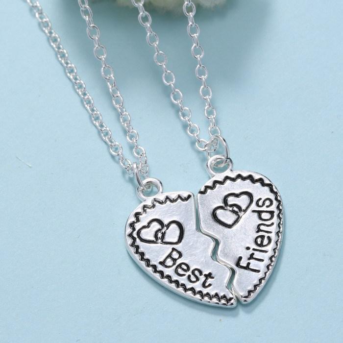 Initial Necklaces Broken Heart Pendants Puzzle BFF Best Friendship ...