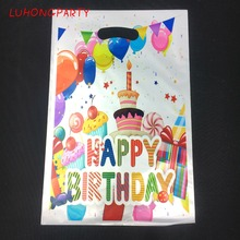 6pcs Colorful Balloon Cake PE printed plastic candy bags shopping gift bag Kids happy birthday event party supply LUHONGPARTY
