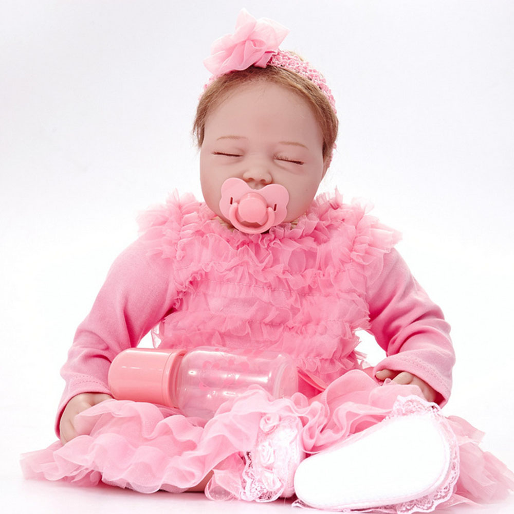 22 inches Closed Eyes Newborn Baby Doll Realistic Reborn Girl Doll with Cloth Body for Kids Toy Birthday Christmas Gift rare w i t c h 6 inches doll with pvc bag collection girl gift