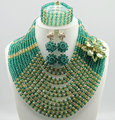 Newest african beads jewelry set nigerian wedding african beads 7 color indian multi layer necklace / Earrings women C54-1