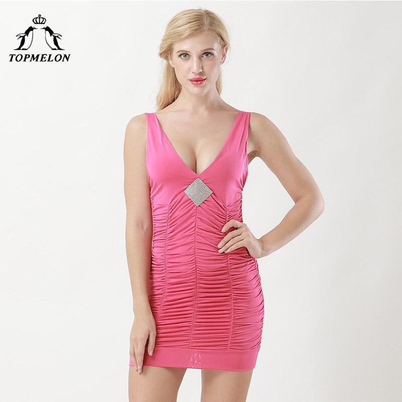 TOPMELON Bodysuit Body Shaper Slimming Dresses Sexy Women Bodycon Solid Dress Push Up Shows Party Club Short Corset Dress