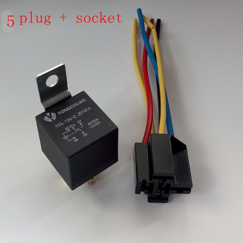 1pcs 12V 30/40 A Amp 5 Pin 5P Automotive Harness Car Auto Relay Socket 5 Wire 10 pcs 5 wire plastic socket 5 pin spdt 1no 1nc car relay dc 24v volts 40 amp