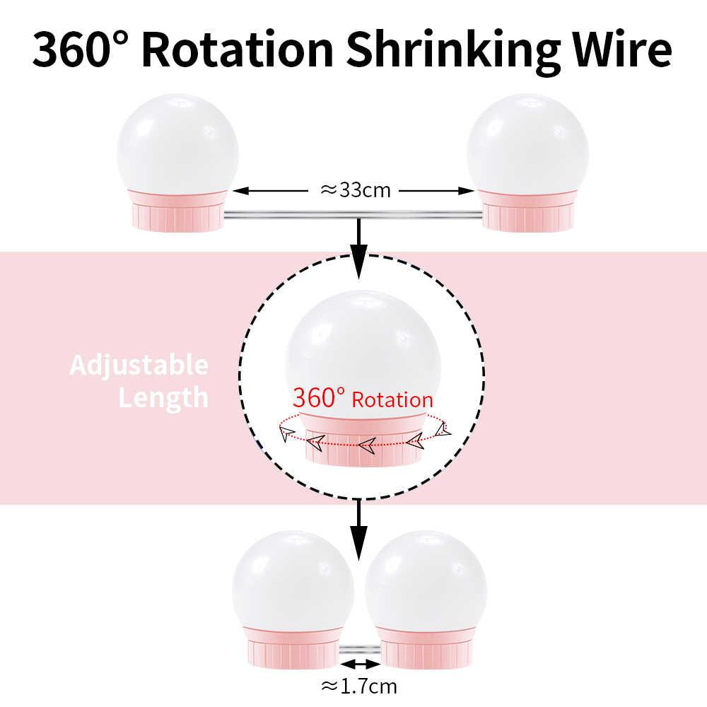 Светодиодный зеркало для макияжа с подсветкой лампочка 5 в голливудское косметическое Освещение Диммер настенный светильник 6 10 14 лампочек комплект для туалетного столика для ванной комнаты