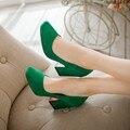 2016 толстый каблук рабочая обувь двориков 31-33 плюс размер 43 на высоком каблуке, одну обувь зеленый свадебные туфли ol женская обувь