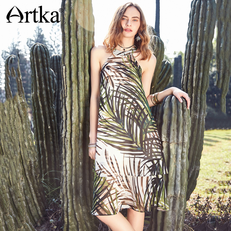 ARTKA Vintage Fresh Plant Print Loose Waist Dress LA10889X