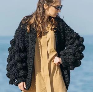 Moda damska koreański amerykański długi latarniowy rękaw dzianinowy kardigan sweter damski dzianinowy dorywczo ciepły kardigan ponczo