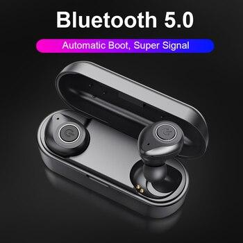 ALWUP Bluetooth 5,0 auriculares TWS auriculares inalámbricos auriculares estéreo 3D auriculares deportivos manos libres para teléfono con caja de carga de micrófono