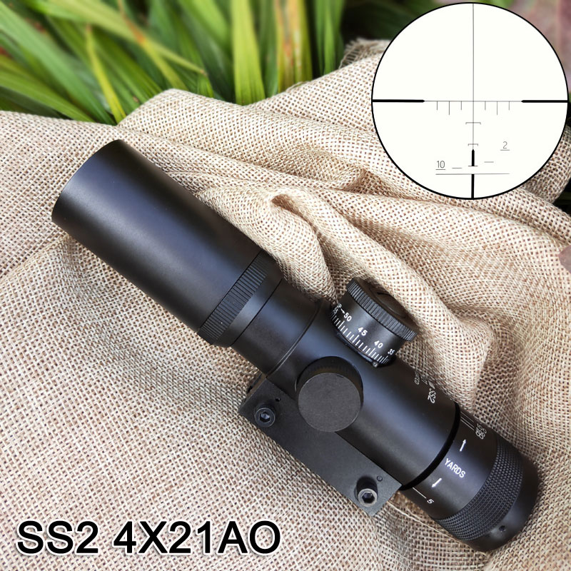 Tactical Compact 4X21AO Scopes Optical Sights Riflescope One Piece Tube 11mm 20mm Rails For Hunt Weapon