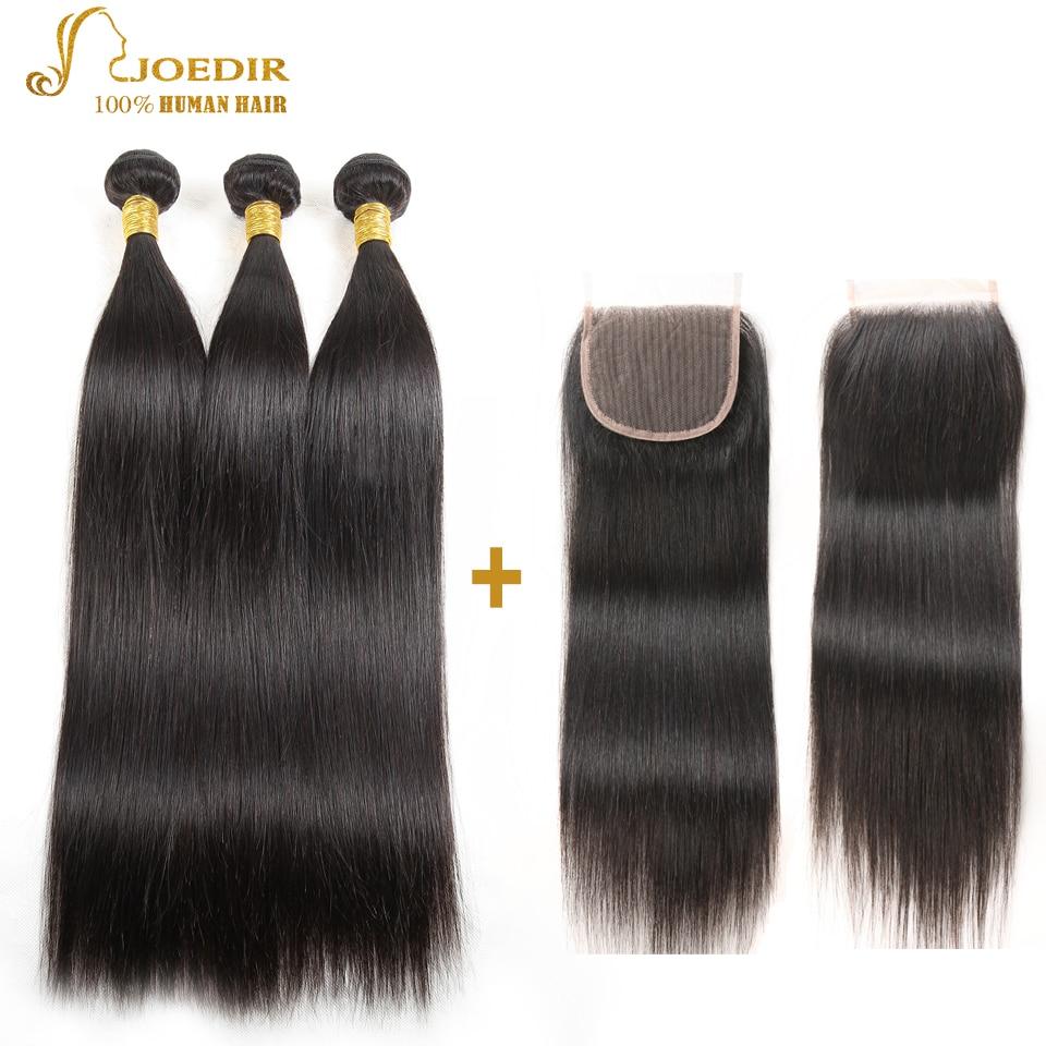 Joedir Straight Hair 2/3/4 Bundles With Snap Closure Brazilian Hair - Skönhet och hälsa