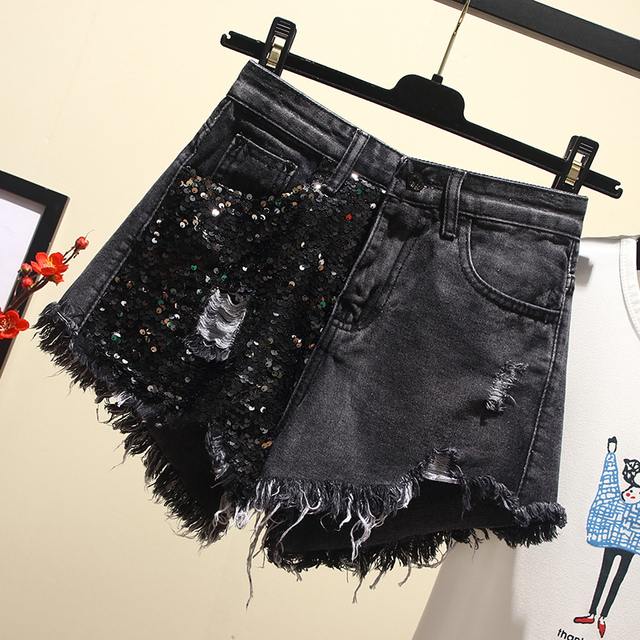 plus size 5XL Summer New Arrival Women High Waist Solid Color Denim Hole Sequined Spliced Casual loose Shorts Jeans 3