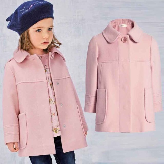 Winter New Year Girls Clothes 1piece Fashion Children's jacket pink girls wool coat 2-9Y girls winter coat wool girl outwear