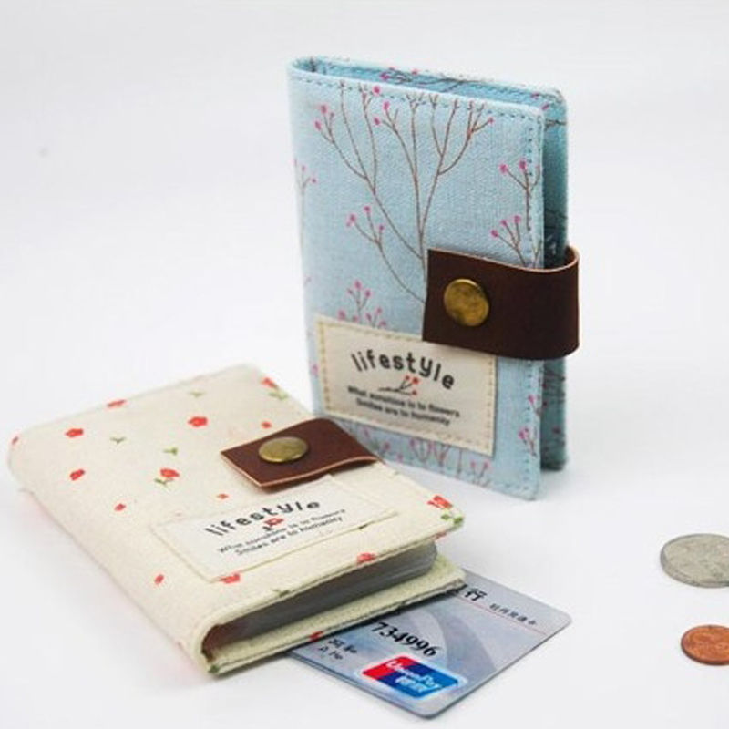 2019 Creative Women Canvas ID Credit Card Holder Bagt Women Travel ID Bank Credit Card Holder Hasp Business Card Wallet
