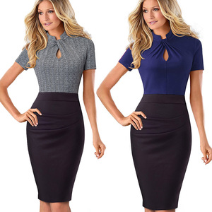 Image 4 - Nice forever Vintage Contrast Color Patchwork Wear to Work Knot vestidos Bodycon Office Business Sheath Women Dress B430