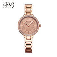 Top Brand PB Brand Watch Stylish Women Rose Gold Stainless Steel Watch Lady Business Silver Watch Waterproof Top Quality Watch