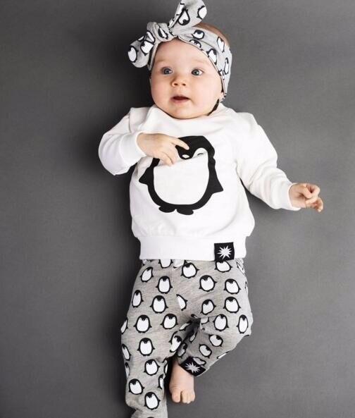 2018 Autumn Fashion Baby Boy Girl penguin Cotton Long Sleeve T-shirt + Pants Newborn Infant 2 Pieces Suit Girl Clothing Sets