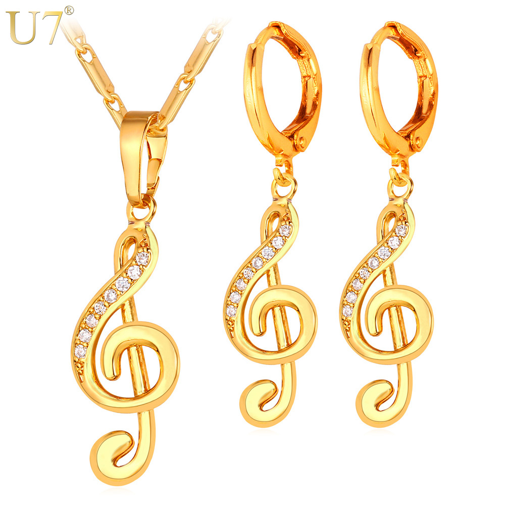 U7 Gold Color Musical Jewelry Set For Women Gift Aaa Cubic Zirconia