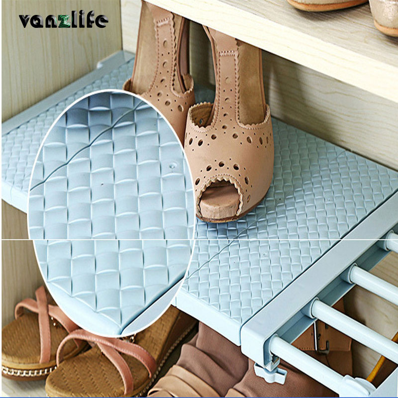 vanzlife nail free telescopic wardrobe layered clapboard traceless barrier shelf cabinet storage rack bathroom sorting rack