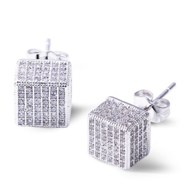 DC1989 Brand Studs Earings for Women Lead Free Synthetic CZ Paved Rhodium Plated 8 mm Cubic Shape