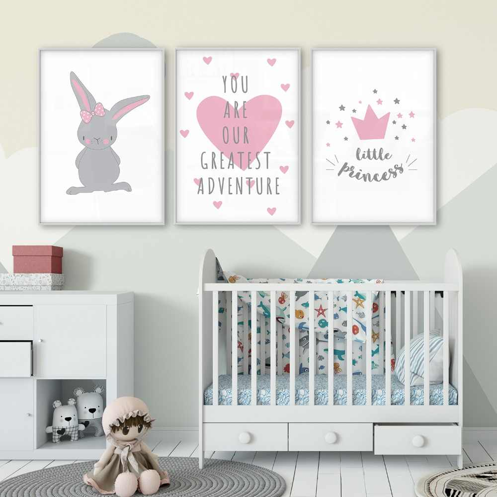 Animal Bunny Rabbit Little Princess Crown Greatest Adventure Love Children's Room Baby Room Poster Kids Nursery Wall Art Picture