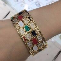 Zlxgirl Women size colorful snake shape Bangle with Ring jewelry Sets brand Enamel bridal bangle sets anniversary jewelry sets