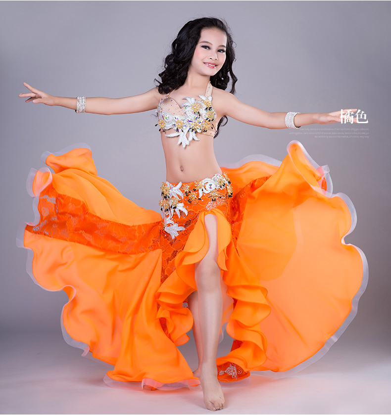 Dancer's Vitality Kids Performance Belly Dance Costumes Girls Dnce Stylge Set Hand Made dance clothes S,M,L