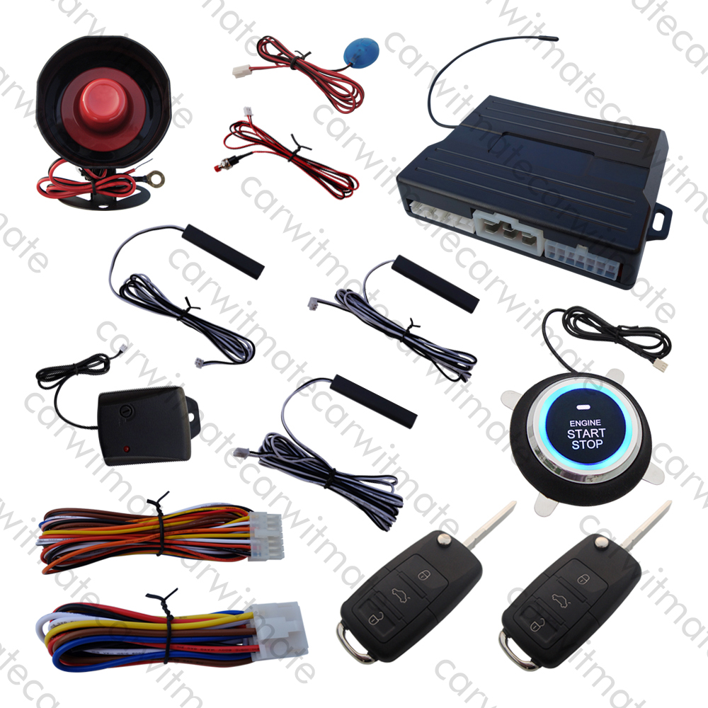 PKE Car Alarm System With HAA Flip Keys Push Start Remote Start Stop Engine Passive Keyless Entry Many Rolling Code kowell hopping code pke car alarm system w passive keyless entry remote engine start stop push button power ignition switch
