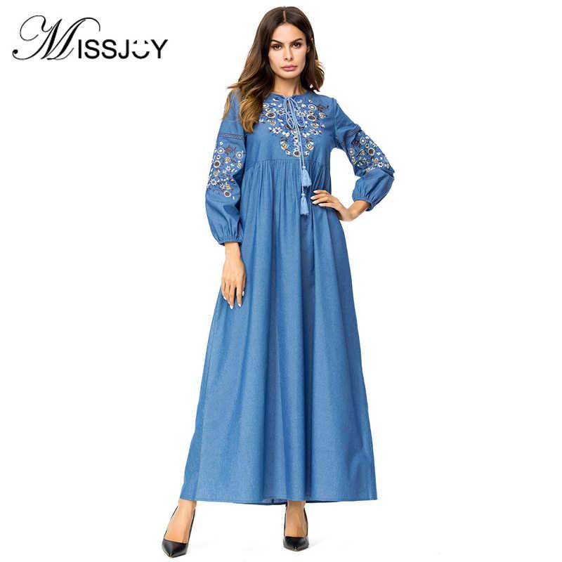 872d7f71d7 MISSJOY Embroidered Denim Dress loose Women drawstring Full sleeve islam  Casual Muslim Fashion Party Long dress