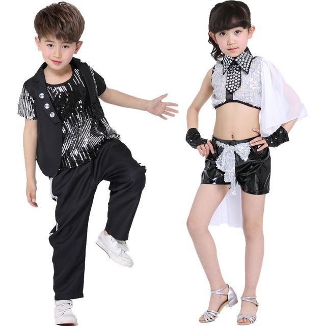 e5a195e48 10pcs/lot Free Shipping Sequin Jazz Hip Hop Costumes Girls Boys Kids Hiphop  Dance Wear Clothes for Stage Ballroom Competition