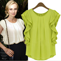 Summer Chiffon Shirt Women Short-sleeved Loose Chiffon Blouse Large Size Butterfly Sleeve Women Tops blouses verao  BG828