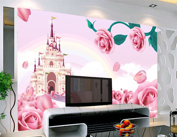 Online Shop Custom papel DE parede infantil pink roses and castle