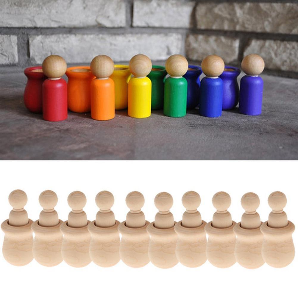 LanLan personas jerarquización muñecas de madera inacabada DIY decoración Pastel de Bodas Topper ornamento niños juguetes artesanía 10 piezas/ set-30