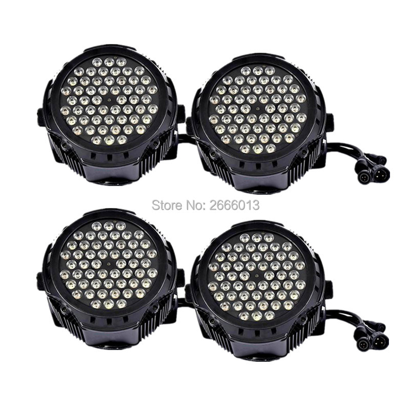 4pcs/lot LED Par Light Waterproof 54x3W RGBW Color Outdoor Flat Par Can IP65 DMX512 Stage Effect Lighting DJ Disco Party Lights free shipping 54x3w flat led par light rgbw best quality par can dmx512 disco dj home party ktv led stage effect projector page 5
