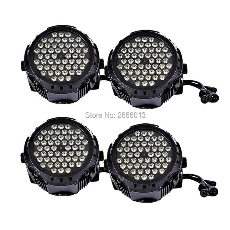 4pcs/lot Led Par Light Waterproof 54x3W RGBW Color Outdoor Flat Par Can IP65 DMX512 Stage Effect Lighting DJ Disco Party Lights