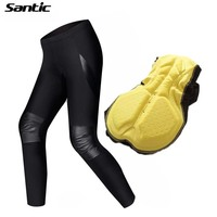 New Santic Men Cycling Pants PU Windproof Tights 4D Padded Bicycle Pants MTB Mountain Road Bike
