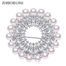 ZHBORUINI New Design Fine Jewelry Natural Freshwater Pearl Brooch Rinestone Many Pearls Round Pins Women