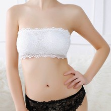 Summer Sexy Female Tube Tops Women's Solid Lace Floral Crop Boob Tube Top Bandeau Bra Strapless Seamless Top