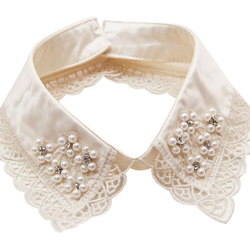 Women Detachable Colla Beige Color Shirt Fake Collars Pearls Decoration Ladies Lace False Necklaces 2017