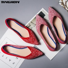 TINGHON  Fashion Women Slip On Flat Loafers Pointed Toe Shallow Ballet Flats Shoes Casual Ballerina 2 Colors